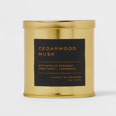 4oz Lidded Metal Jar Black Label Cedarwood Musk Candle - Threshold™