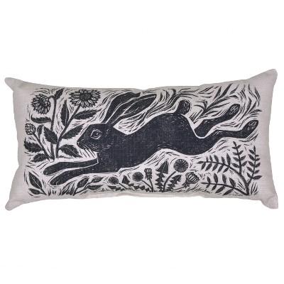 Outdoor Throw Pillow Lumbar - Woodcut Hare - Threshold™