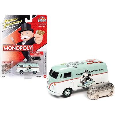 "1965 Volkswagen Type 2 Light Green & White & Game Token ""Monopoly"" ""Pop Culture"" 1/64 Diecast Model Car by Johnny Lightning"