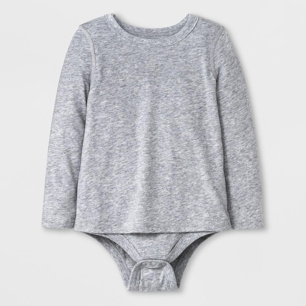 Toddler Girls' Adaptive Long Sleeve Bodysuit - Cat & Jack Heather Gray 4T