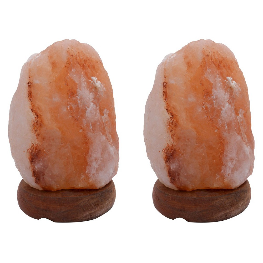 "Image of ""Accentuations by Manhattan Comfort Natural Shaped Himalayan Salt Lamp 1.6. Set of 2 With dimmer (""""6""""), Neutral"""