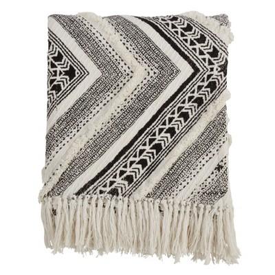 """50""""x60"""" Embellished Diamond Cotton Throw Blanket Black - Saro Lifestyle"""