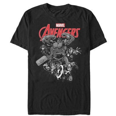 Men's Marvel Avengers Attack Grayscale T-Shirt