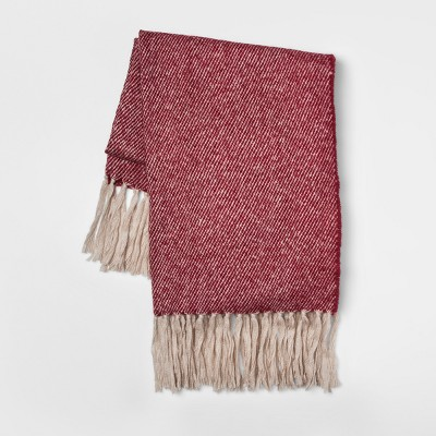 60 x50  Faux Mohair Twill Throw Berry - Threshold™