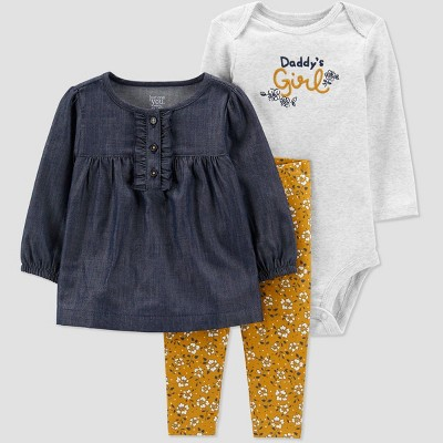 Baby Girls' 3pc Floral Dot Top & Bottom Set - Just One You® made by carter's Navy 3M