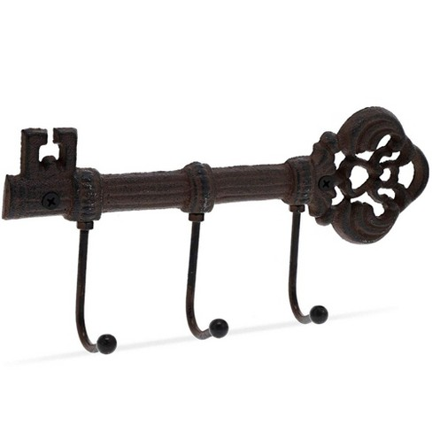 "Juvale Cast Iron Key Holder with 3 Hooks for Wall, Decorative Wall Mount Hooks for Coat Hat Key, 9.5""x4.5"" - image 1 of 4"