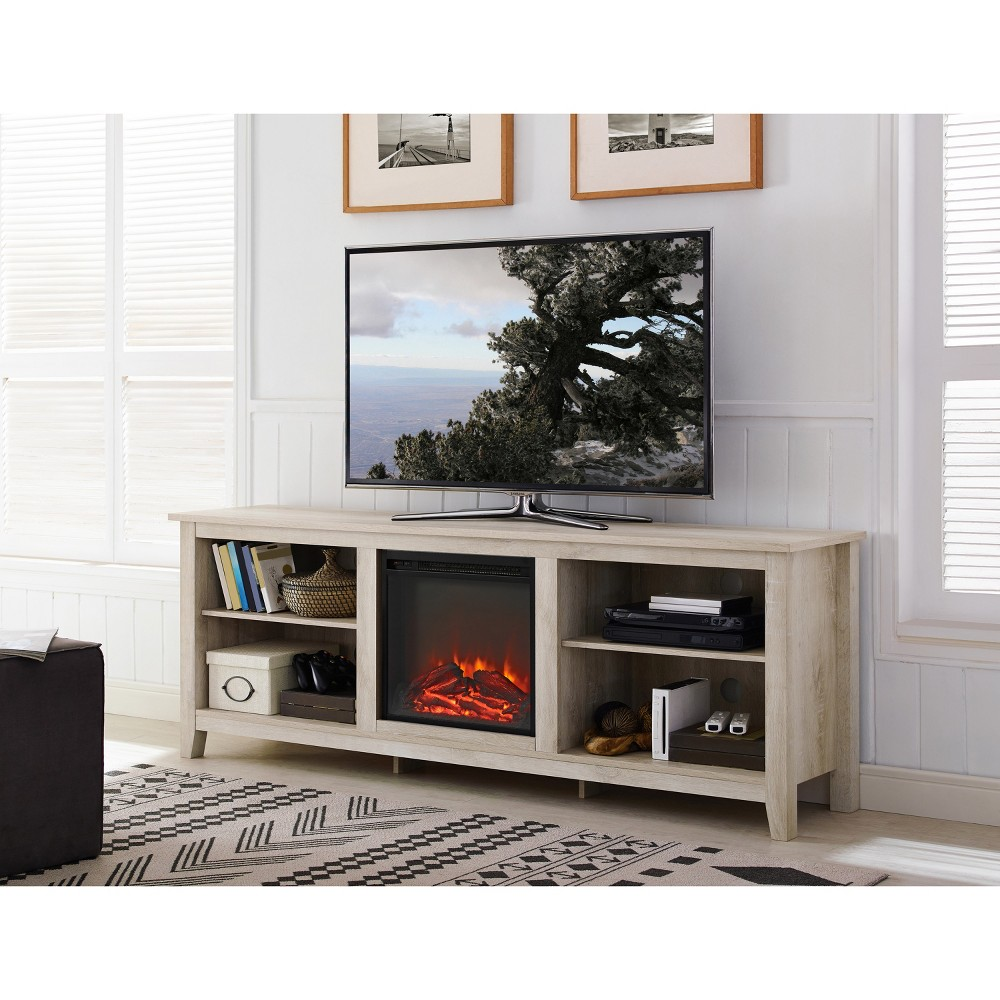 70 Wood Media TV Stand Console with Fireplace - White Oak - Saracina Home