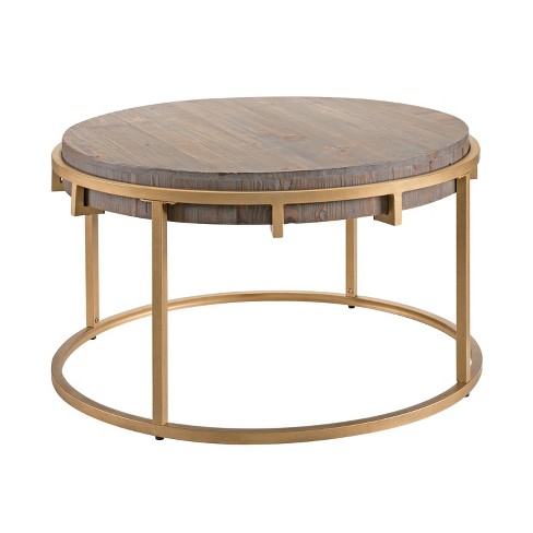 Sanla Round Reclaimed Wood Coffee Table Brown Gold Aiden Lane
