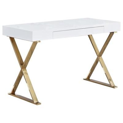 Modern Stainless Steel Frame Computer Desk - Gold High Gloss - Best Master Furniture