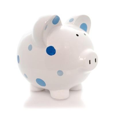 "Bank 7.75"" Blue Multi Dot Bank Polka Piggy Money Saving  -  Decorative Banks"