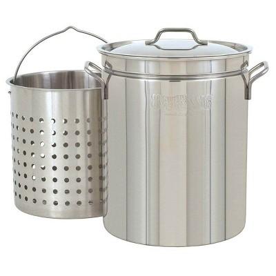 Bayou Classic Large 36 Quart Stainless Steel Stockpot/Steamer & Handy Basket