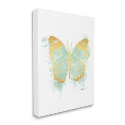 Stupell Industries Seafoam Green Butterfly Watercolor Paint Splatter