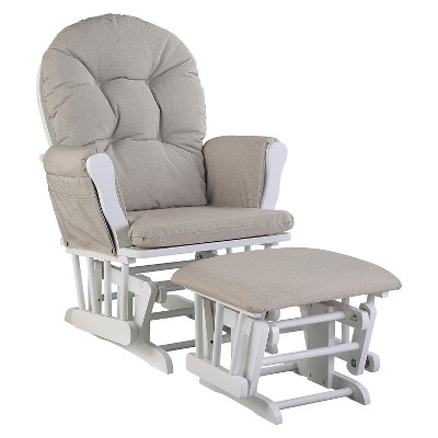 Stork Craft Hoop White Glider and Ottoman - Taupe Swirl