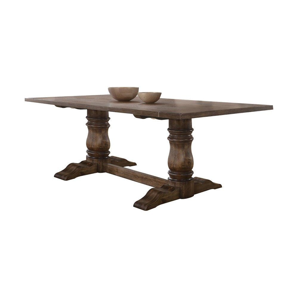 Acme Furniture Leventis Dining Table Weathered Oak Brown