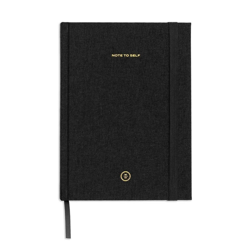 Image of Wit & Delight Lined Journal Black Linen Note to Self