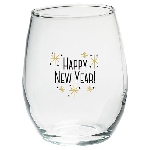 4ct kate aspen happy new year stemless wine glass