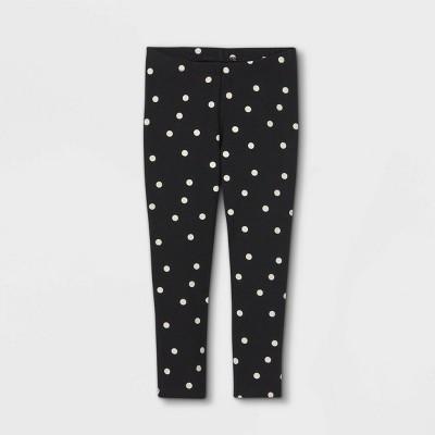 Toddler Girls' Dot Leggings - Cat & Jack™ Black