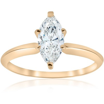 Pompeii3 14k Yellow Gold 1ct Marquise Diamond Engagement Solitaire Ring
