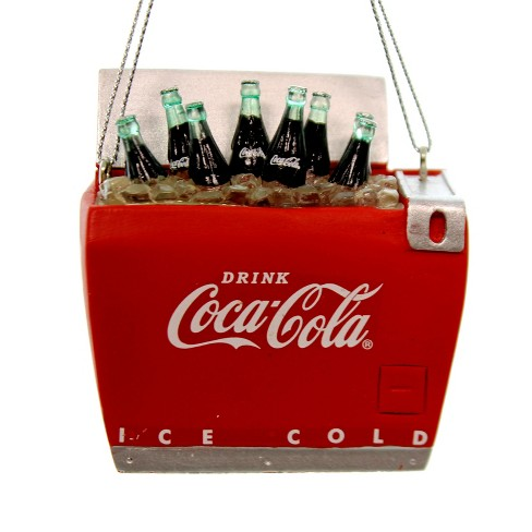 Coca Cola Christmas Bottle.Holiday Ornaments Coca Cola Bottles In Cooler Christmas Ice Chest