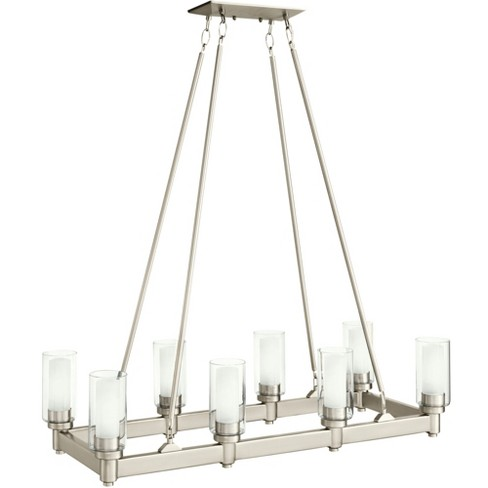 """Kichler 2943 Circolo 8 Light 36"""" Wide Chandelier with Dual Cylinder Shades - Brushed Nickel - image 1 of 4"""