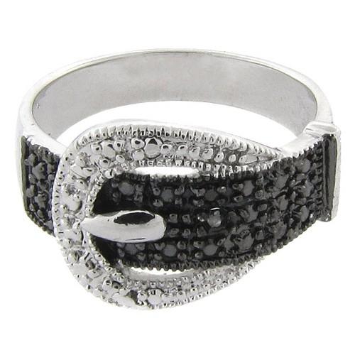 Black/White Diamond Buckle Ring, Women's, Size: 7, Silver
