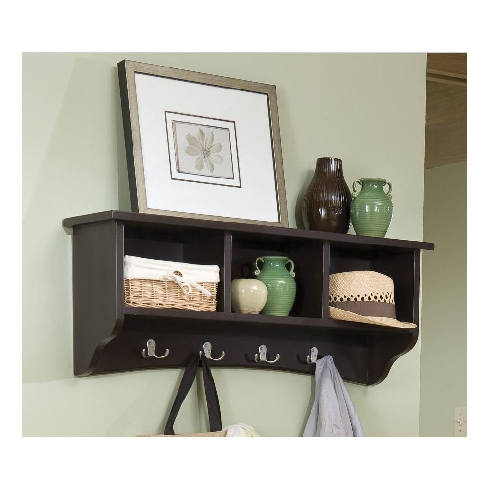 Coat Hooks with Storage Cubbies Chocolate (Brown) - Alaterre Furniture