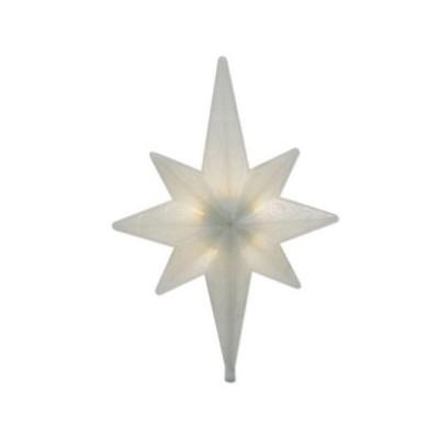"Brite Star 14.5"" Warm White Winter Frost LED Bethlehem Star Christmas Tree Topper - Clear Lights"