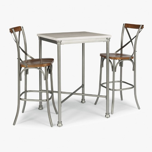 Orleans Marble Finished Quartz Top Bar Table And Two Stools Gray Home Styles Target