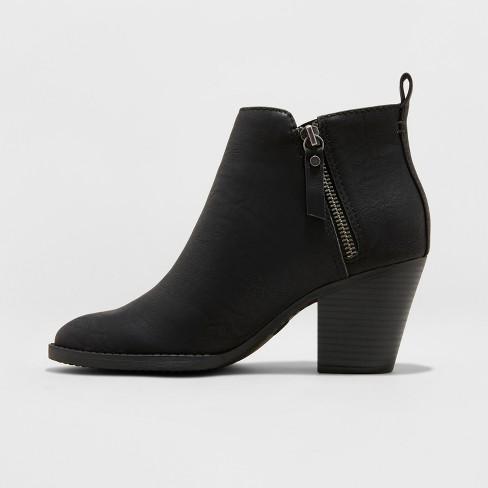 c2144b84ac03 Women s Jameson Faux Leather Wide Width Double Zipper Fashion Bootie -  Universal Thread™ Black 5W   Target