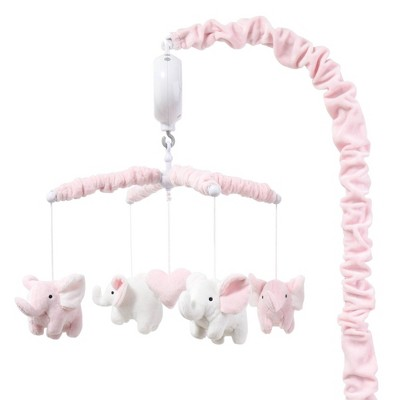 The Peanut Shell Elephant Musical Mobile - Pink