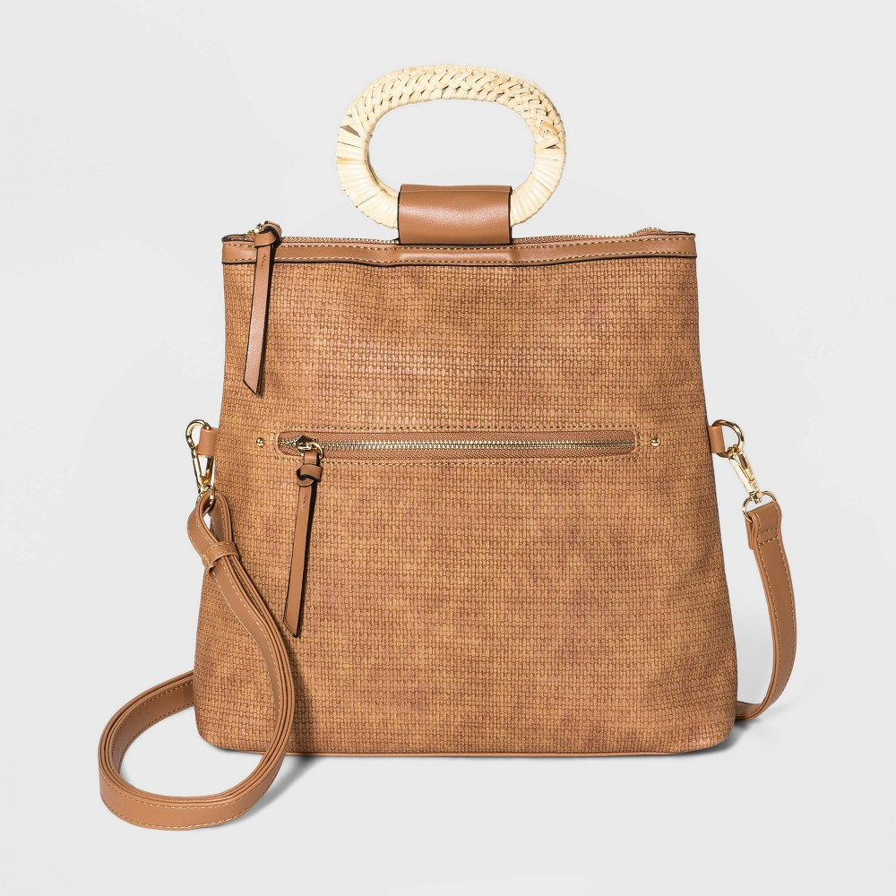 Image of VR NYC Convertible Foldover Backpack - Cognac, Brown