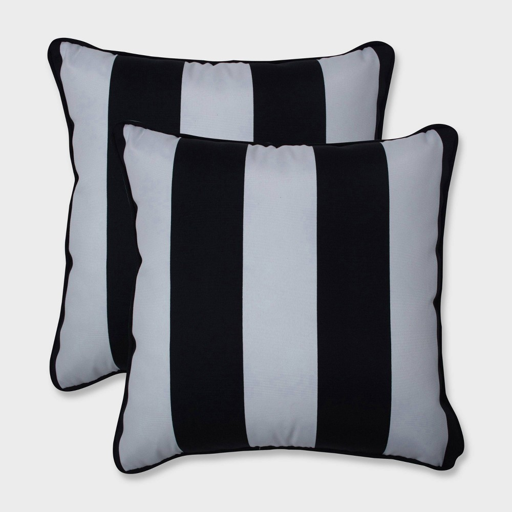 "Image of ""16.5"""" 2pk Cabana Stripe Throw Pillows Black - Pillow Perfect"""