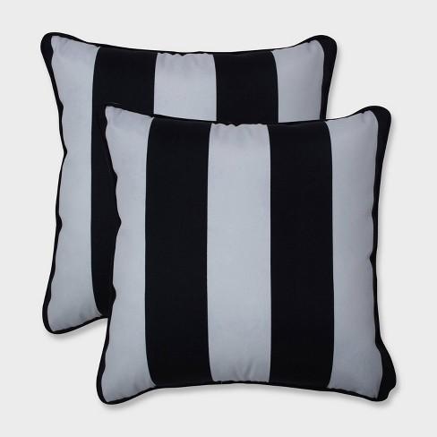 """16.5"""" 2pk Cabana Stripe Throw Pillows Black - Pillow Perfect - image 1 of 1"""