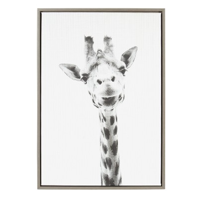 Kate & Laurel 33 x23  Sylvie Giraffe Animal Print And Portrait By Simon Te Tai Framed Wall Canvas Gray