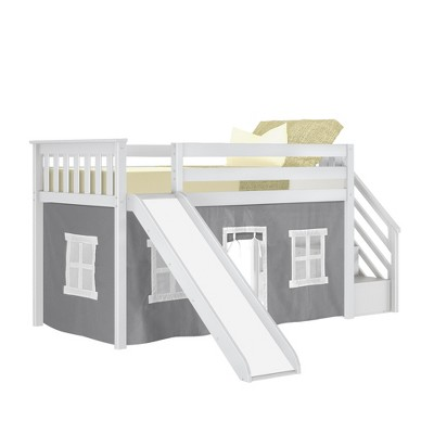 Max & Lily Twin Low Loft with Stairs and Slide with Curtains