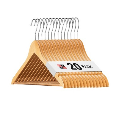 OSTO Wooden Suit Hangers; Ultra-Durable Smooth Finish Wood Coat Hanger with Non Slip, Grooved Pant Bar & Swivel Hook