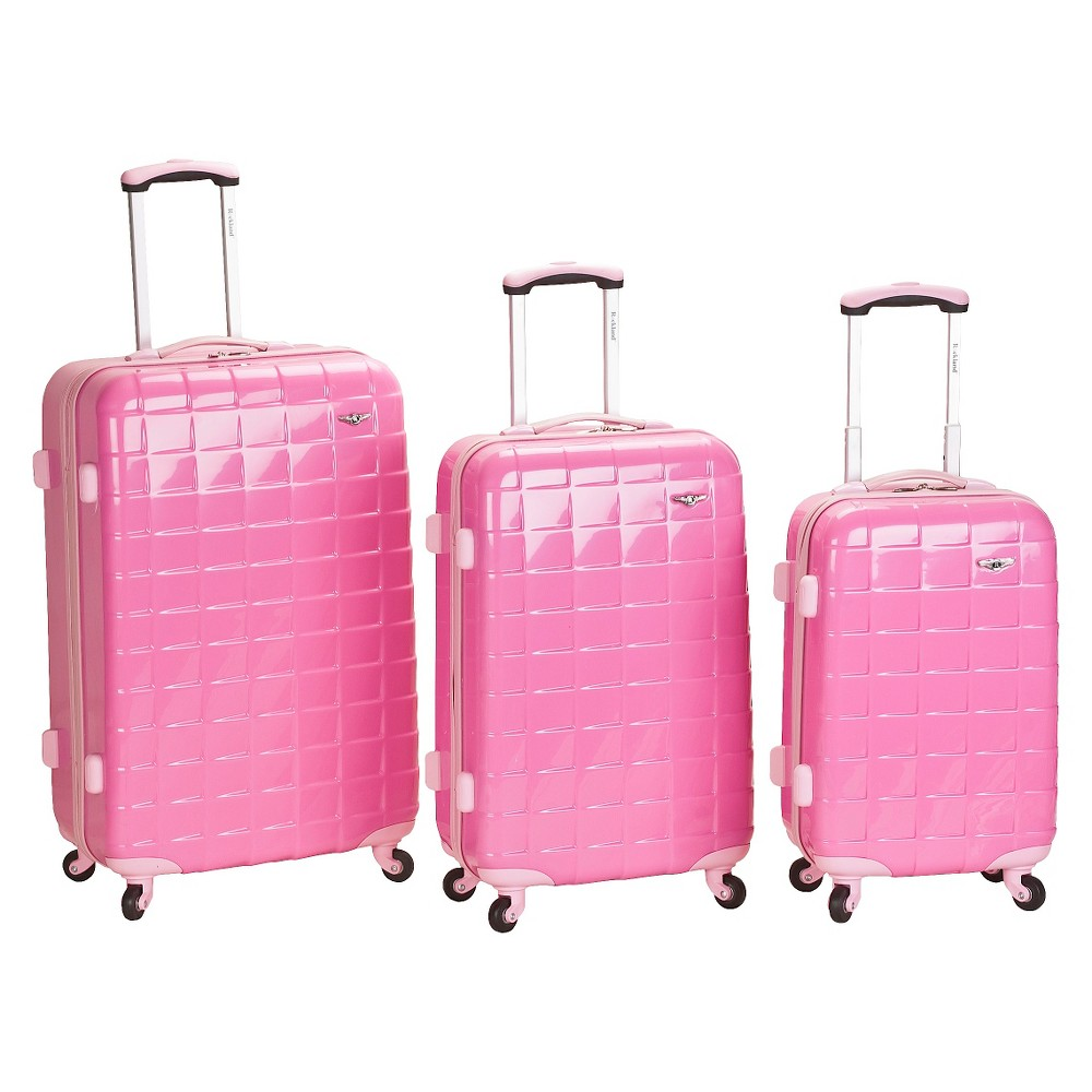 Rockland Celebrity 3pc Polycarbonate/Abs Luggage Set - Pink