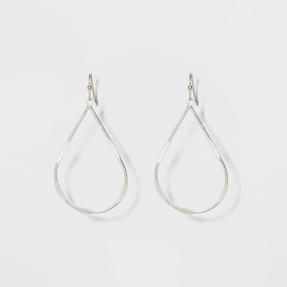 Textured Wire Teardrop Drop Earrings - Universal Thread Silver