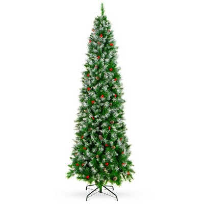 Best Choice Products Pre-Decorated Partially Flocked Holiday Christmas Pencil Tree w/ Base