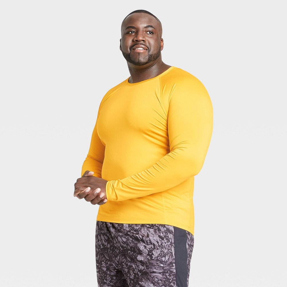 Men's Long Sleeve Fitted T-Shirt - All in Motion Gold XXL, Men's was $20.0 now $14.0 (30.0% off)