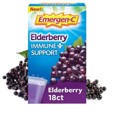Emergen-C Immune+ Dietary Supplement Powder Drink Mix with Vitamin C - Elderberry - 18ct