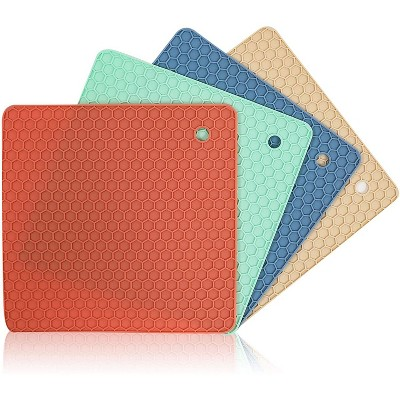 Silicone Trivets, Pot Holders for Kitchen (7 Inches, 4 Pack)