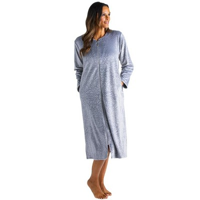 Softies Women's Floral Embossed Serenity Zip Robe