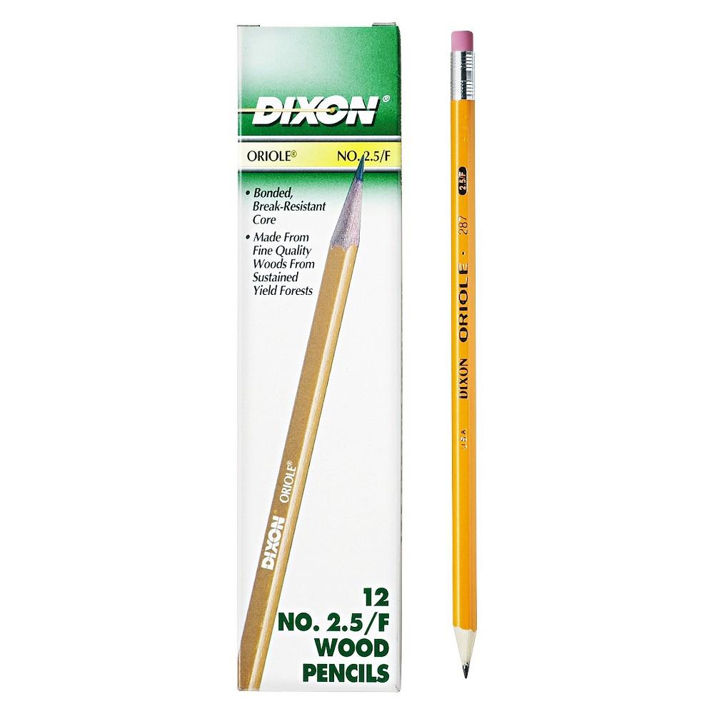 Dixon Oriole Woodcase Pencil, F #2.5, Yellow Barrel, 12/Pack