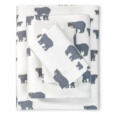 King Flannel Sheet Set Gray Bear - Eddie Bauer