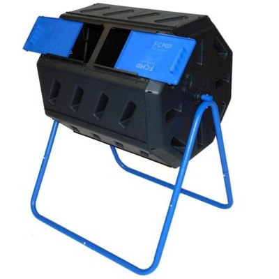 FCMP Outdoor IM4000-DD 8 Sided Dual Chamber Tumbling Double Door Composter, Blue