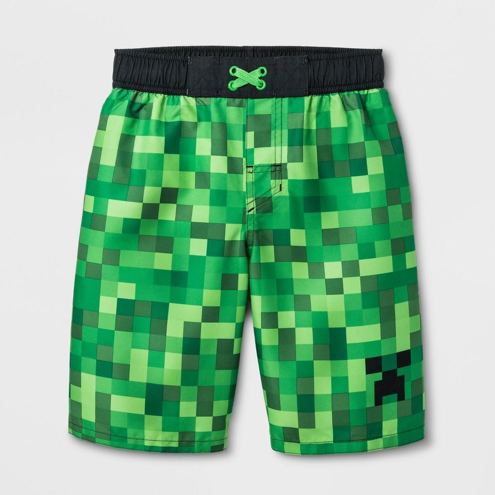 Boys' Minecraft Swim Trunks - Green XS