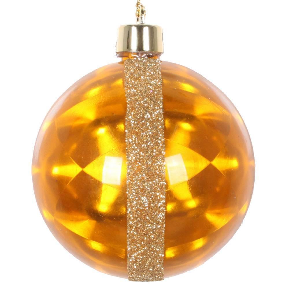 "Image of ""6ct Vickerman 3"""" Glitter Reflector Ornament Set Gold"""