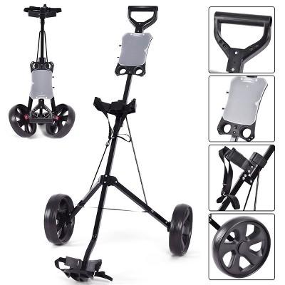 Costway Folding 2 Wheel Push Pull Golf Club Cart Trolley Swivel w/Scoreboard Lightweight