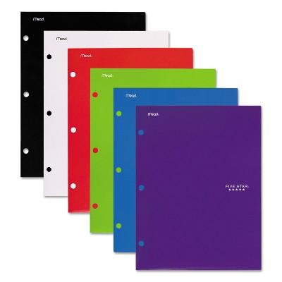 Five Star Four-Pocket Portfolio 8 1/2 x 11 Assorted Colors Traditional Design 4/Pack 38058
